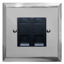 Mode Telephone Socket Secondary 2 Gang Polished Chrome & Black Trim