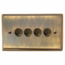 Mode Dimmer Switch 4 Gang Antique Brass Lacquered