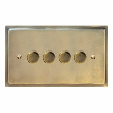Mode Dimmer Switch 4 Gang Antique Satin Brass