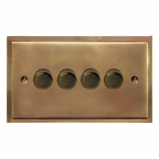 Mode Dimmer Switch 4 Gang Hand Aged Brass
