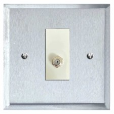 Mode Satellite Socket Satin Chrome & White Trim
