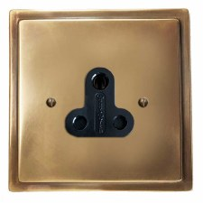Mode Lighting Socket Round Pin 5A Antique Brass Lacquered