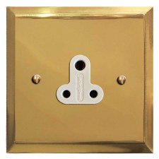 Mode Lighting Socket Round Pin 5A Polished Brass Lacquered & White Trim