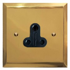 Mode Lighting Socket Round Pin 5A Polished Brass Unlacquered