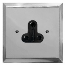 Mode Lighting Socket Round Pin 5A Polished Chrome & Black Trim