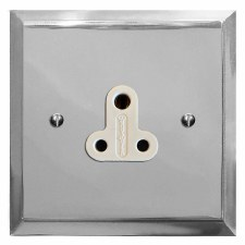 Mode Lighting Socket Round Pin 5A Polished Chrome & White Trim