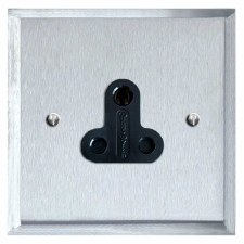 Mode Lighting Socket Round Pin 5A Satin Chrome & Black Trim