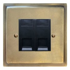 Mode RJ45 Socket 2 Gang CAT 5 Antique Satin Brass