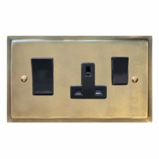 Mode Socket & Cooker Switch Antique Satin Brass