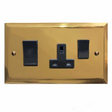 Mode Socket & Cooker Switch Polished Brass Unlacquered