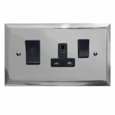 Mode Socket & Cooker Switch Polished Chrome & Black Trim
