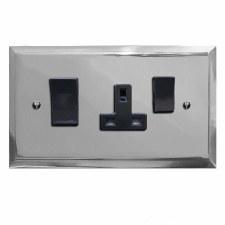 Mode Cooker Switch & Plug Socket Polished Chrome & Black Trim