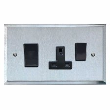 Mode Socket & Cooker Switch Satin Chrome & Black Trim