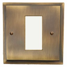 Mode Plate for Modular Electrical Components 50x25mm Antique Brass Lacquered