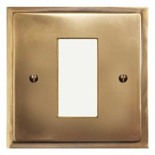 Mode Plate for Modular Electrical Components 50x25mm Hand Aged Brass