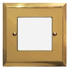 Mode Plate for Modular Electrical Components 50x50mm Polished Brass Unlacquered