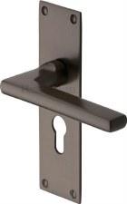 Heritage Trident Euro Lock Door Handles TRI1348 Matt Bronze