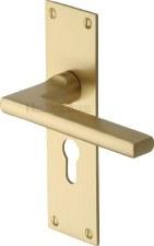 Heritage Trident Euro Lock Door Handles TRI1348 Satin Brass Lacquered