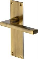 Heritage Trident Latch Door Handles TRI1310 Antique Brass Lacquered