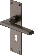 Heritage Trident Door Lock Handles TRI1300 Matt Bronze