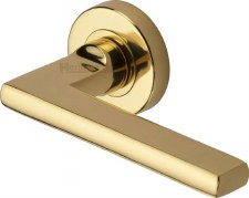 Heritage Trident Round Rose Door Handles TRI1352 Polished Brass Lacq