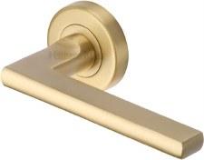 Heritage Trident Round Rose Door Handles TRI1352 Satin Brass Lacq