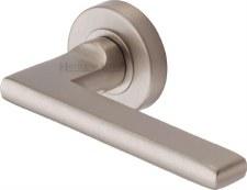Heritage Trident Round Rose Door Handles TRI1352 Satin Nickel