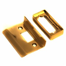 Tubular Latch Rebate Set Polished Brass Unlacquered