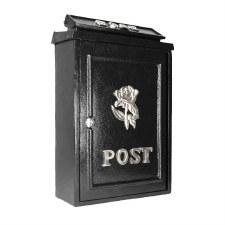 Tudor Rose Post Box with Chrome Decoration