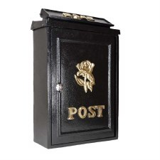 Tudor Rose Post Box with Brass Decoration