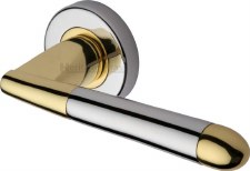 Heritage Turin Round Rose Door Handles V1850 Pol Chrome & Pol Brass
