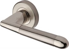 Heritage Turin Round Rose Door Handles V1850 Satin & Polished Nickel