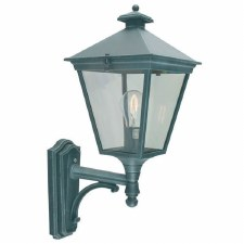 Elstead Turin Outdoor Wall Uplight Lantern Verdigris
