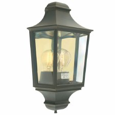 Elstead Turin Flush Outdoor Wall Light Lantern Black/Gold