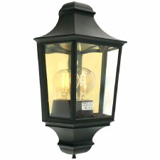 Elstead Turin Flush Outdoor Wall Light Lantern Black