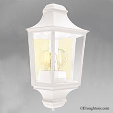 Elstead Turin Flush Outdoor Wall Light Lantern White