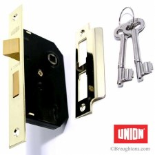 Union Mortice Door Lock Polished Brass