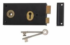 Union Black Rim Lock, Left Hand
