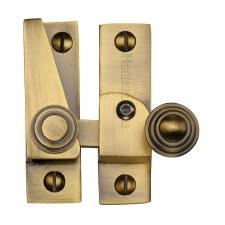 Heritage Hook Plate Sash Fastener Lockable V1104 Antique Brass