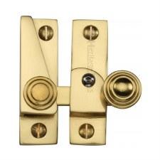 Heritage Hook Plate Sash Fastener Lockable V1104 Polished Brass