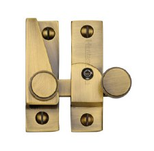 Heritage Hook Plate Sash Fastener V1106L Lockable Antique Brass