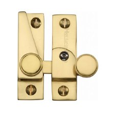 Heritage Hook Plate Sash Fastener V1106L Lockable Polished Brass