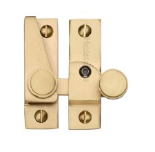 Heritage Hook Plate Sash Fastener V1106L Lockable Satin Brass