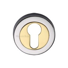 Heritage V4020 Euro Profile Escutcheon Pol Chrome & Pol Brass