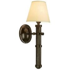 Velsheda Single Wall Light Sconce Antique Brass & Ivory Shade