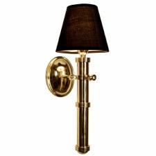 Velsheda Single Wall Light Sconce Polished Brass Unlacquered & Black Shade