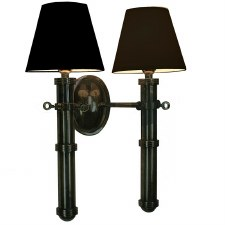 Velsheda Double Wall Light Sconce Antique Brass & Black Shades