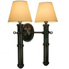 Velsheda Double Wall Light Sconce Antique Brass & Ivory Shades