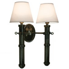 Velsheda Double Wall Light Sconce Antique Brass & White Shades