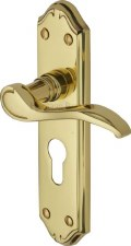 Heritage Verona Euro Lock Door Handles MM625 Polished Brass Lacquered